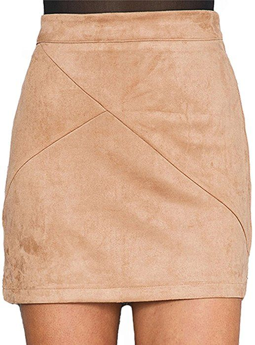 e9cfa0c69 Simplee Apparel Women's High Waist Faux Suede Mini Short Bodycon Skirt  Camel, 8/10