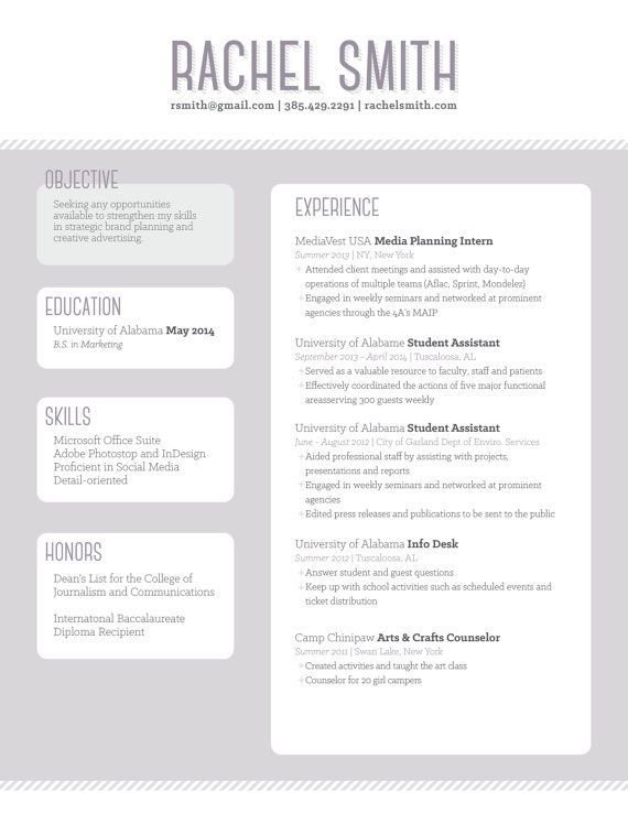 Objective Section On Resume Resumeexample  Creative Resume Templates  Pinterest  Resume .