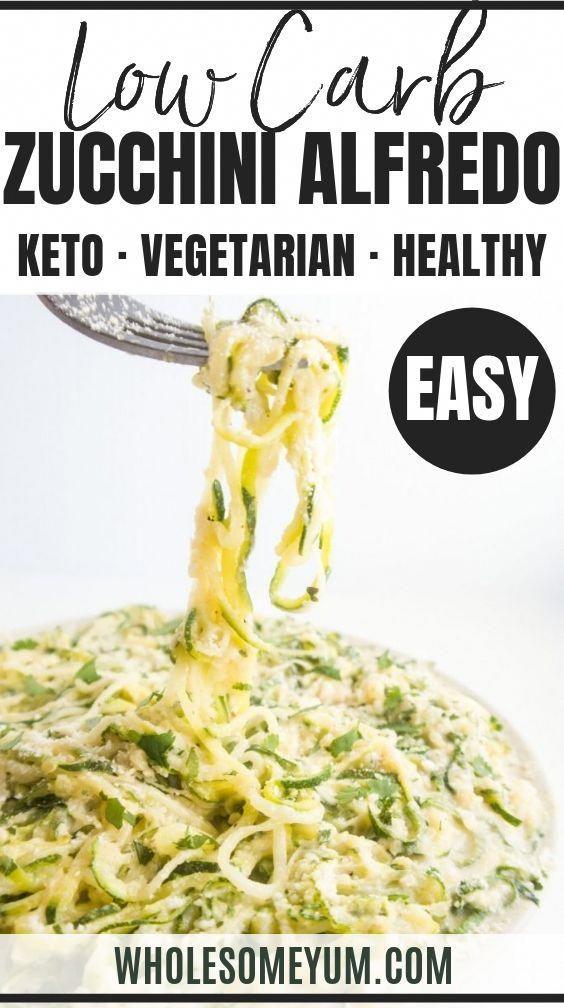 Zucchini Alfredo Recipe (Keto Zoodles Alfredo) - Keto zucchini noodles Alfredo (keto zoodles) has a rich, creamy sauce that's low carb & gluten-free. It's the best zucchini Alfredo ever! #wholesomeyum #keto #lowcarb #dinner #easydinner #healthydinner #vegetarian #ketodinner #FoodsToEatKetoDiet