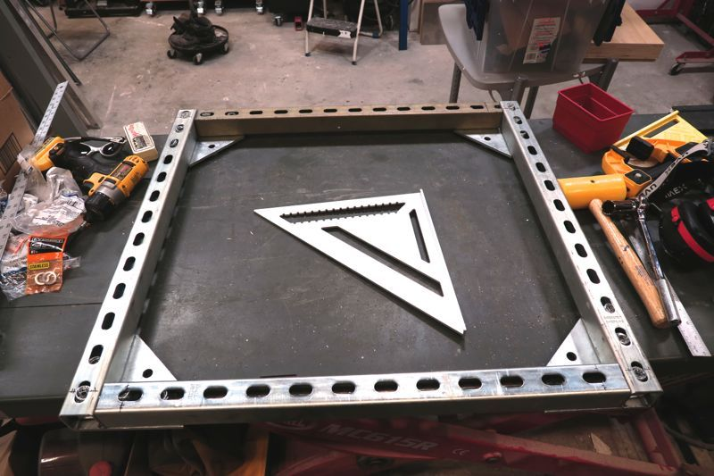Unistrut Caster Base The Garage Journal Board With Images Assembly Table Room Diy Table Accessories