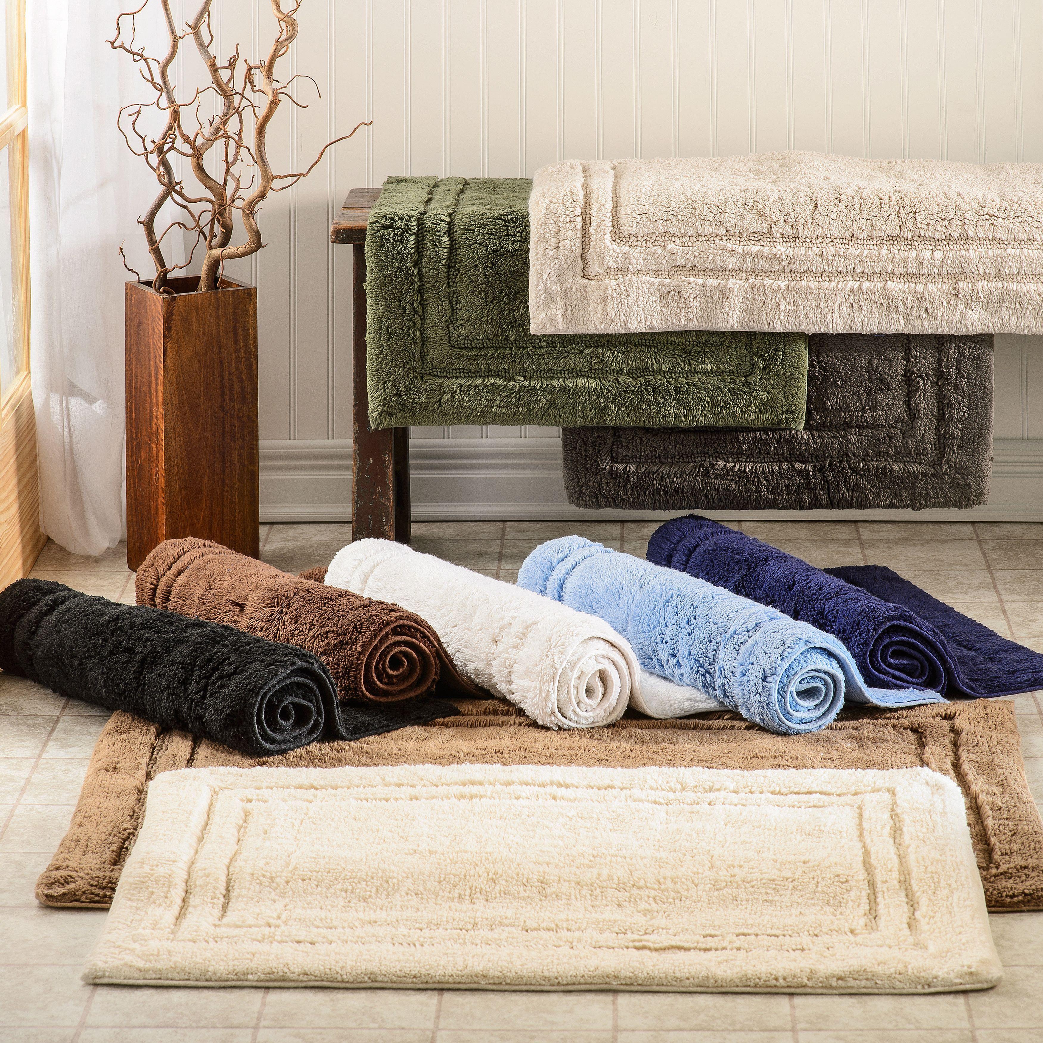 Miranda Haus Luxurious Combed Cotton Non Skid Bath Rug Set Set Of