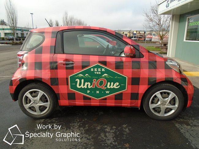 Scion Plaid Car Wraps In Vancouver Wa For Iq Credit Union No Problem Car Wrap Credit Union Car