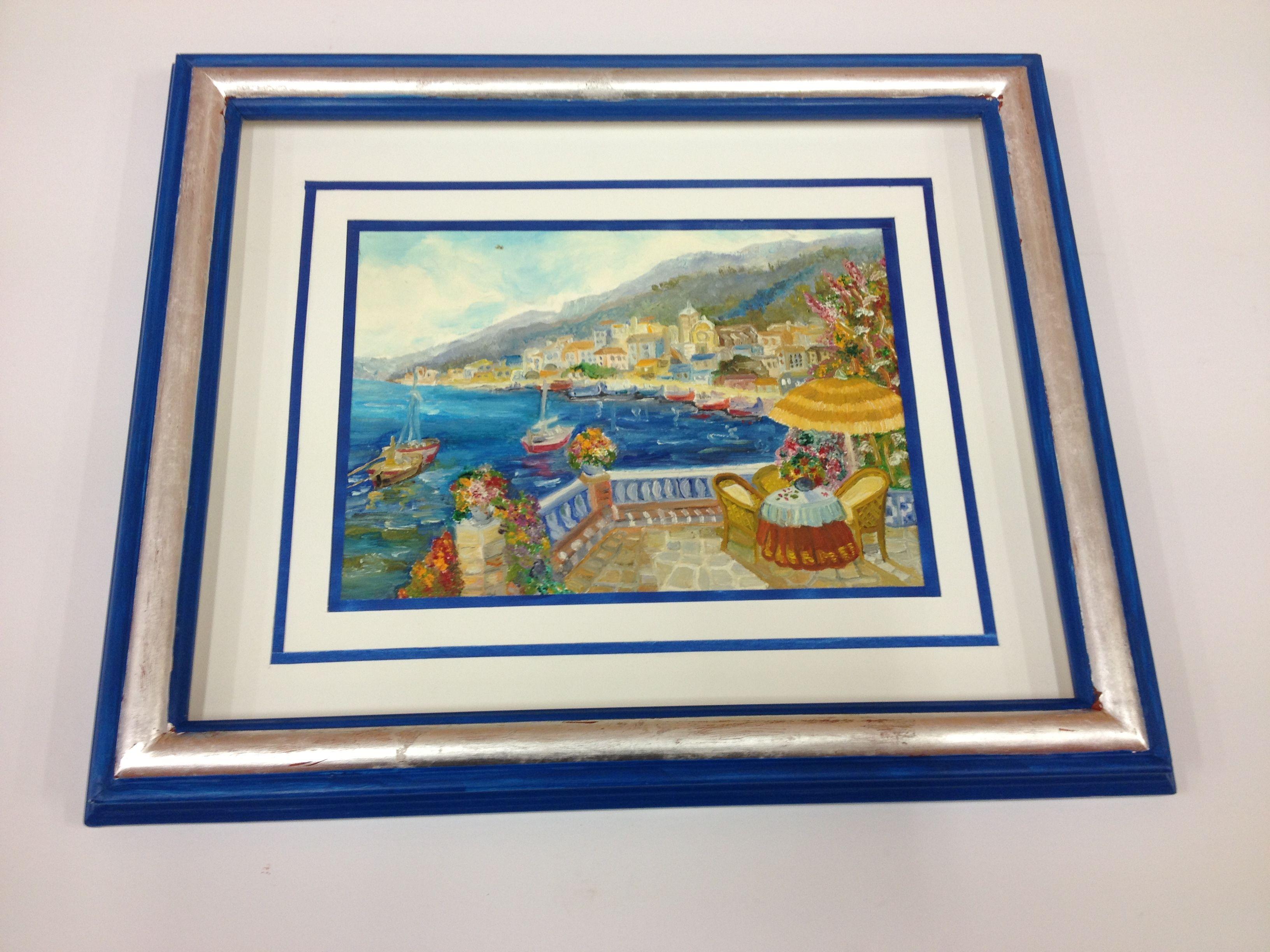 La obra lleva un doble #paspartú con filo de papel azul. El #marco ...