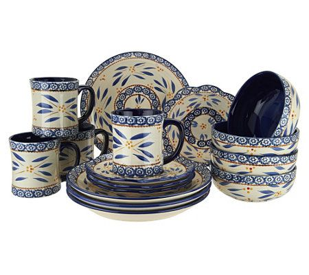 Temp-tations Hand-Painted 16-pc Service for 4 Dinnerware Set