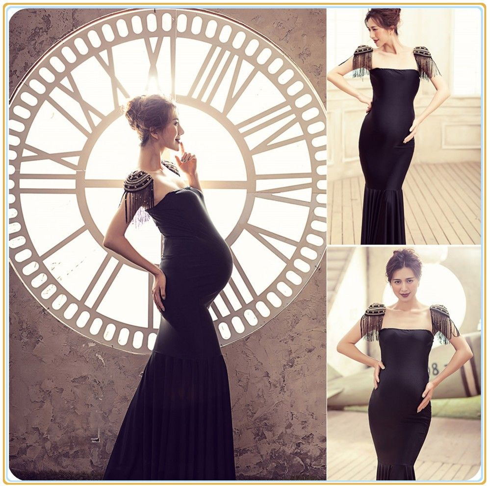 Lace dress for pregnant  Royal Style Black Maternity Lace Dress Pregnant Photography Props