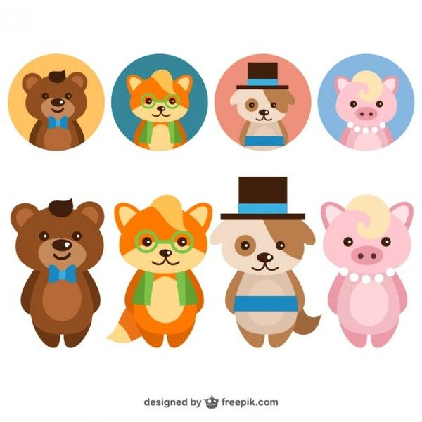 Cute Elegant Animals Avatar Set Free Vector Cute Cartoon Animals Cartoon Animals Vector Free