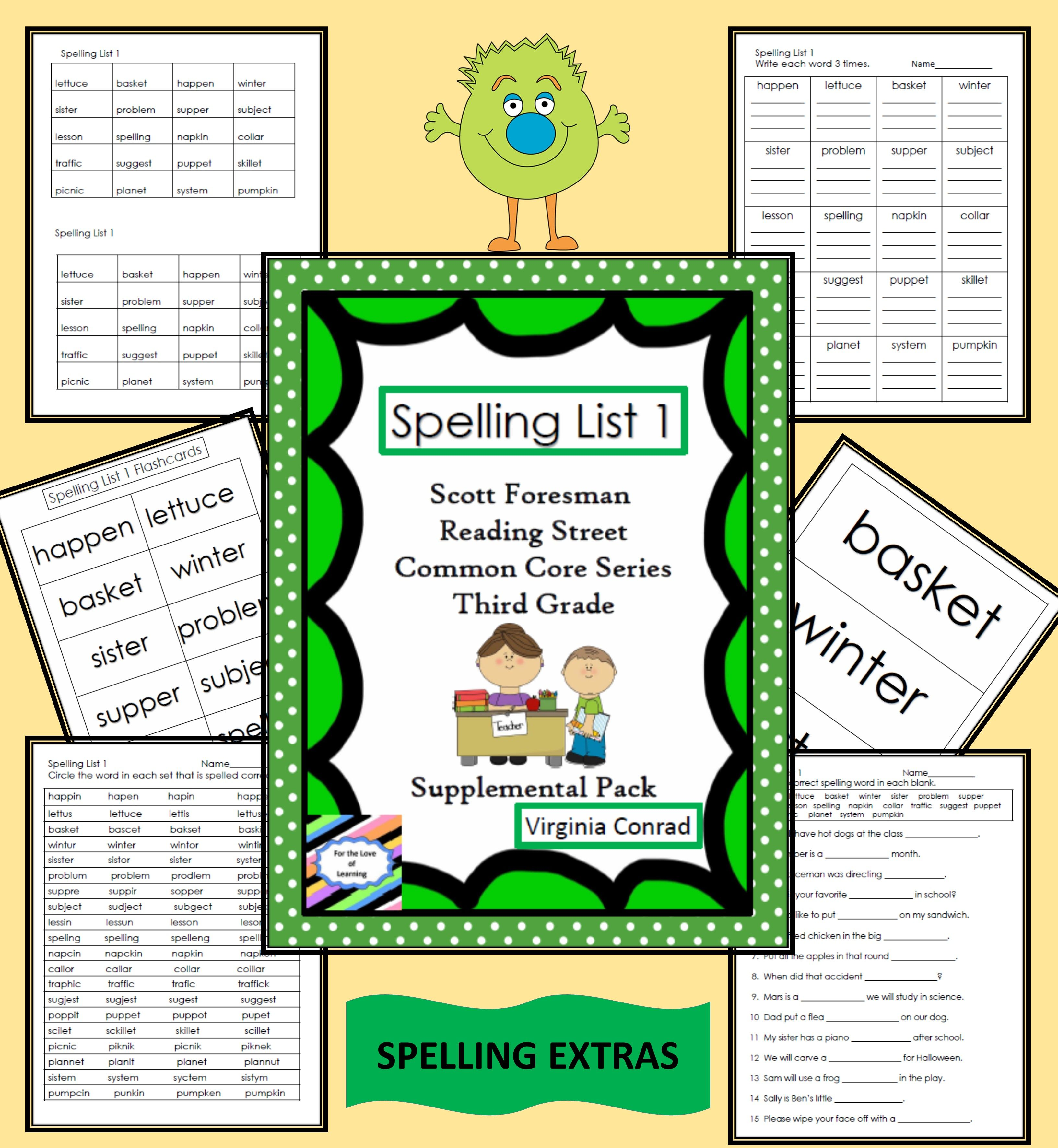Spelling Packet For List 1 Scott Foresman Third Grade Reading Street Basal