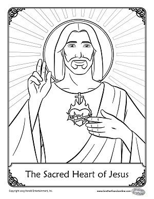 herald store free the sacred heart of jesus coloring page