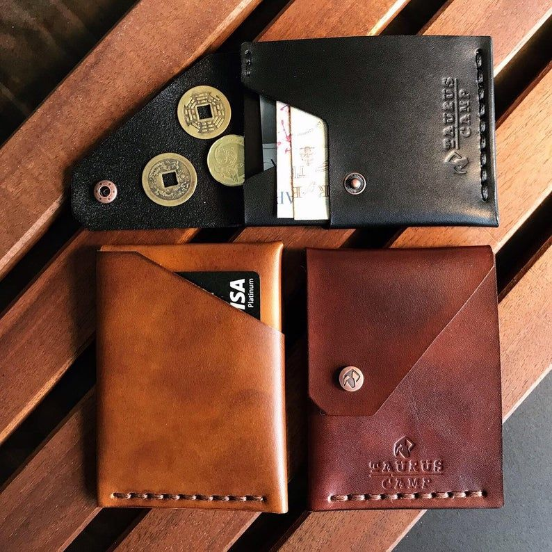 Premium Leather Brown Trifold Mens Classic ID Card Holder Wallet Gift Box New