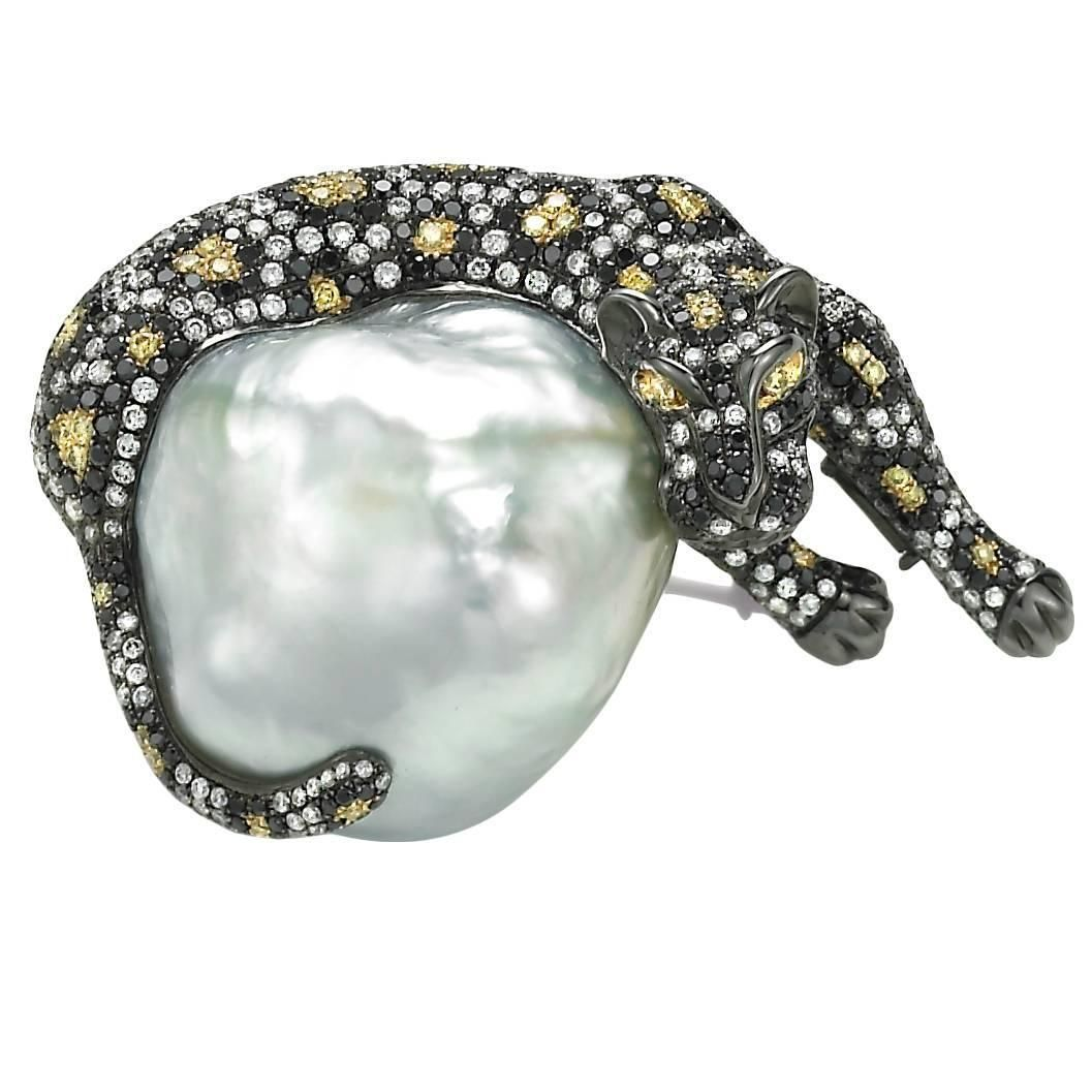 Baroque White South Sea Pearl Tricolor Diamond Tricolor Gold Jaguar Brooch | From a unique collection of vintage brooches at https://www.1stdibs.com/jewelry/brooches/brooches/