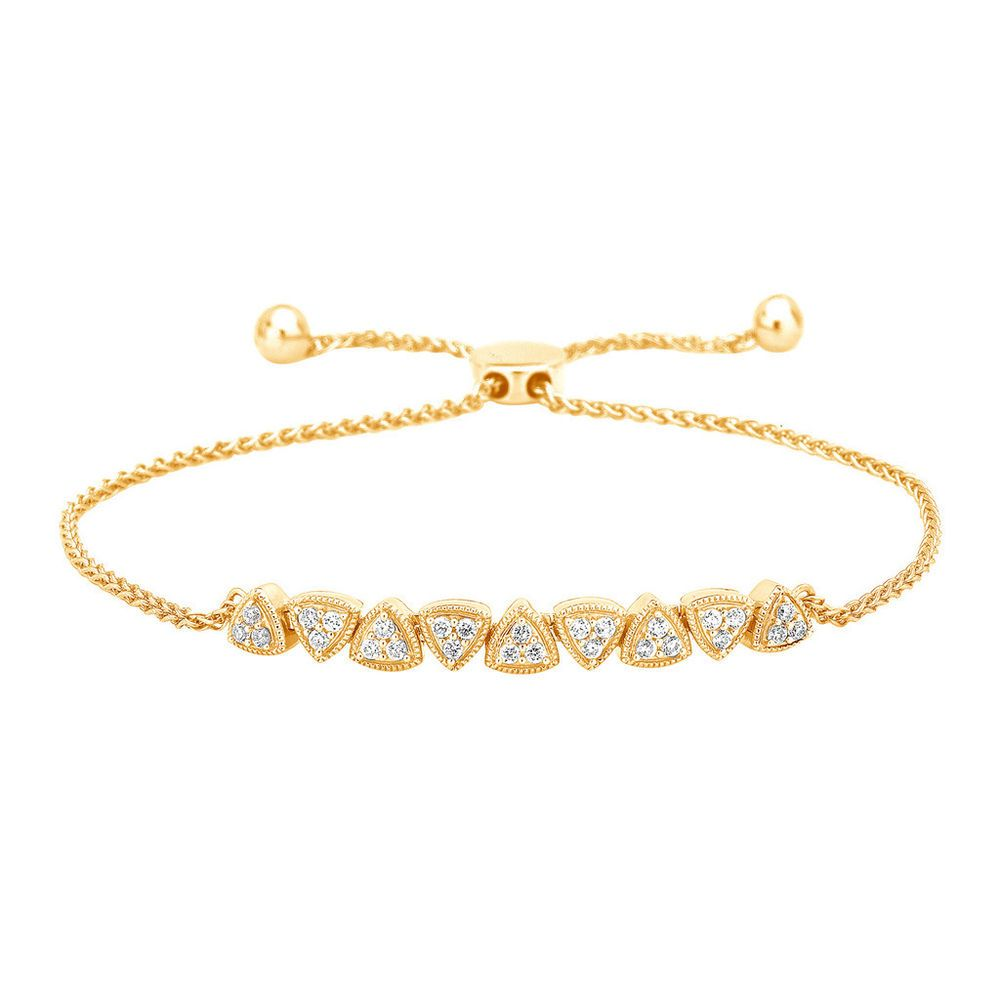 1 2 Ctw 100 Natural Round Diamonds Tennis Bolo Bracelet 10k Solid Yellow Gold Carat Bracelets Gold Diamond Sterling Silver Bracelets Jewelry Bracelets Silver