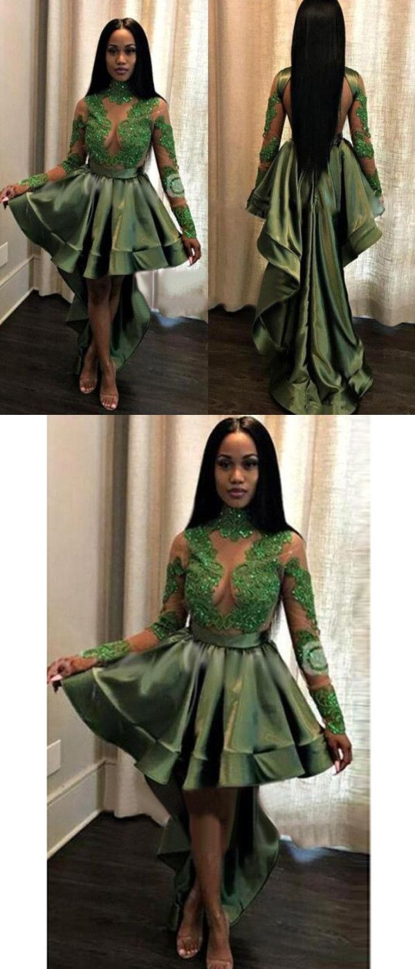 Green homecoming dress lace long sleeve homecoming dress vb