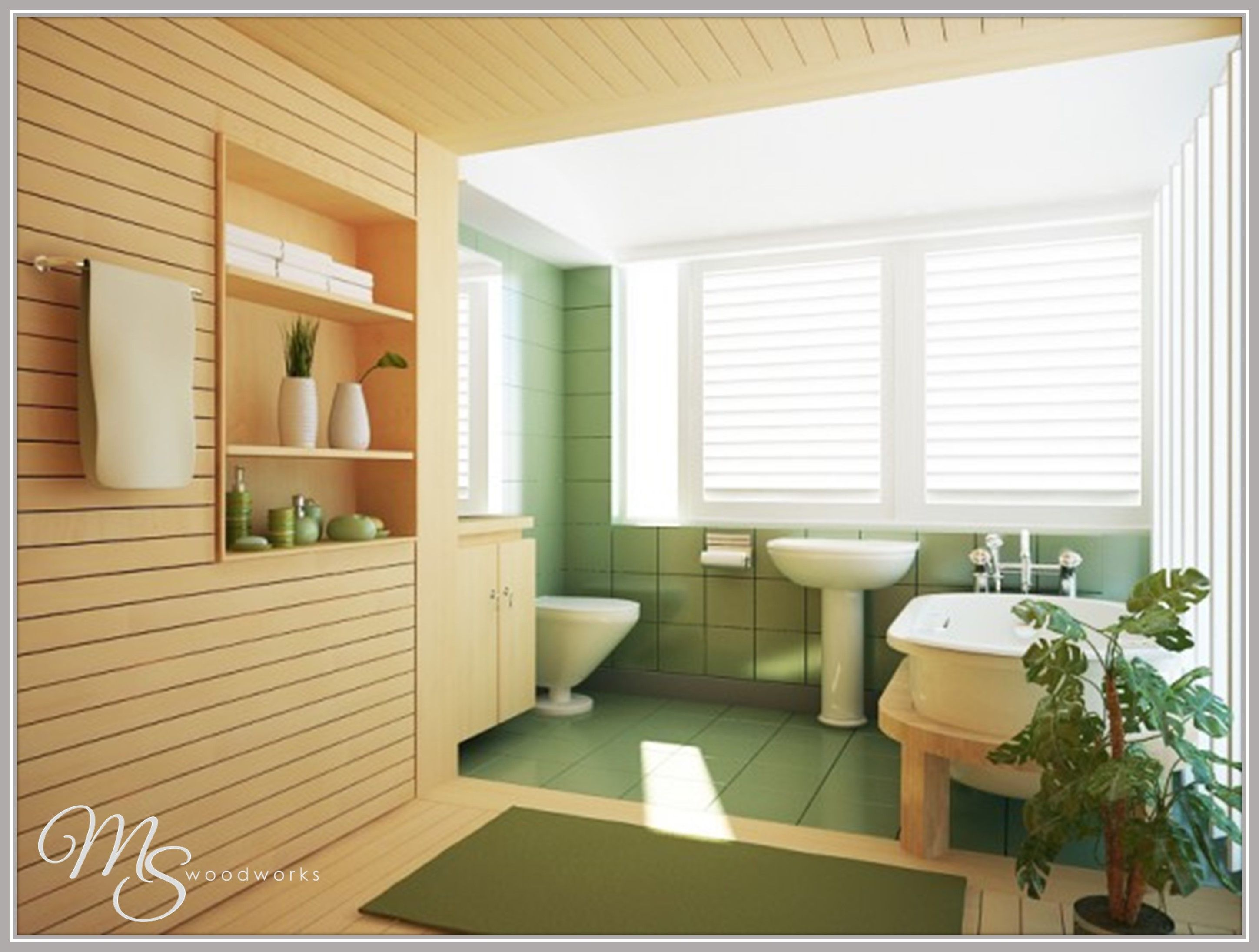 Remodeled bathroom with spa-like accents and wood accent wall. #yesplease