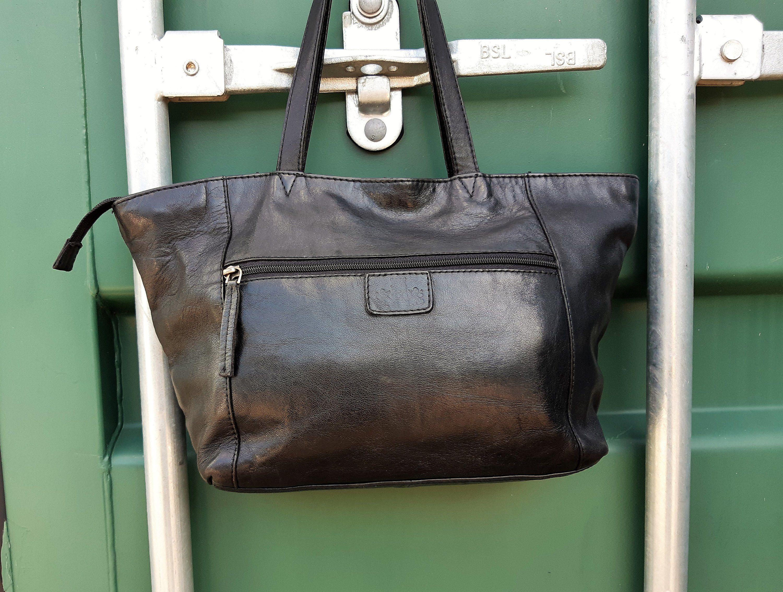 38d0cd11f8283 Rowallan black leather Tote Bag, Vintage Shoulder purse in 2019 ...