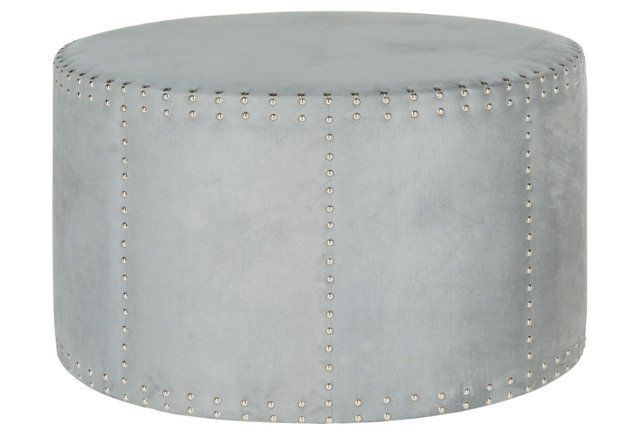 Terrific Karin Round Nailhead Ottoman Light Blue Upholstered Gmtry Best Dining Table And Chair Ideas Images Gmtryco