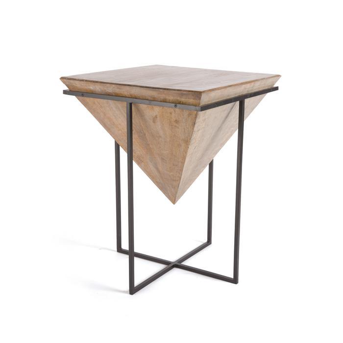 Upside Down Pyramid Wood Iron Side Table Wood Home Decor Side