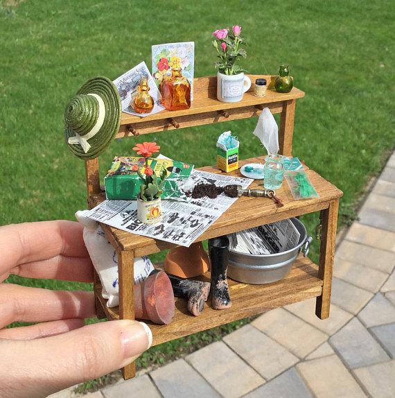 Dollhouse Sir Thomas Thumb Potting Station Work Bench Artisan Miniature