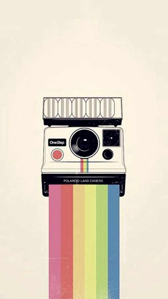 Polaroid Camera Colorful Rainbow Illustration Iphone Wallpapers