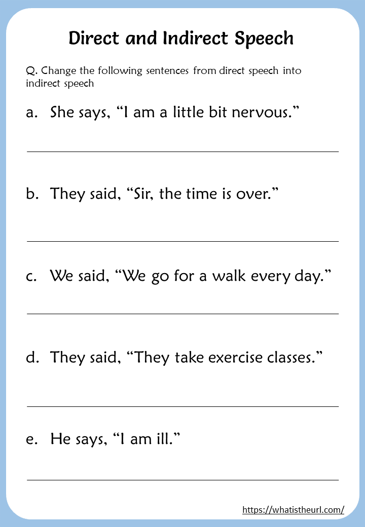 Direct Indirect Speech Worksheets For 5th Grade Direct And Indirect Speech Indirect Speech Direct Speech
