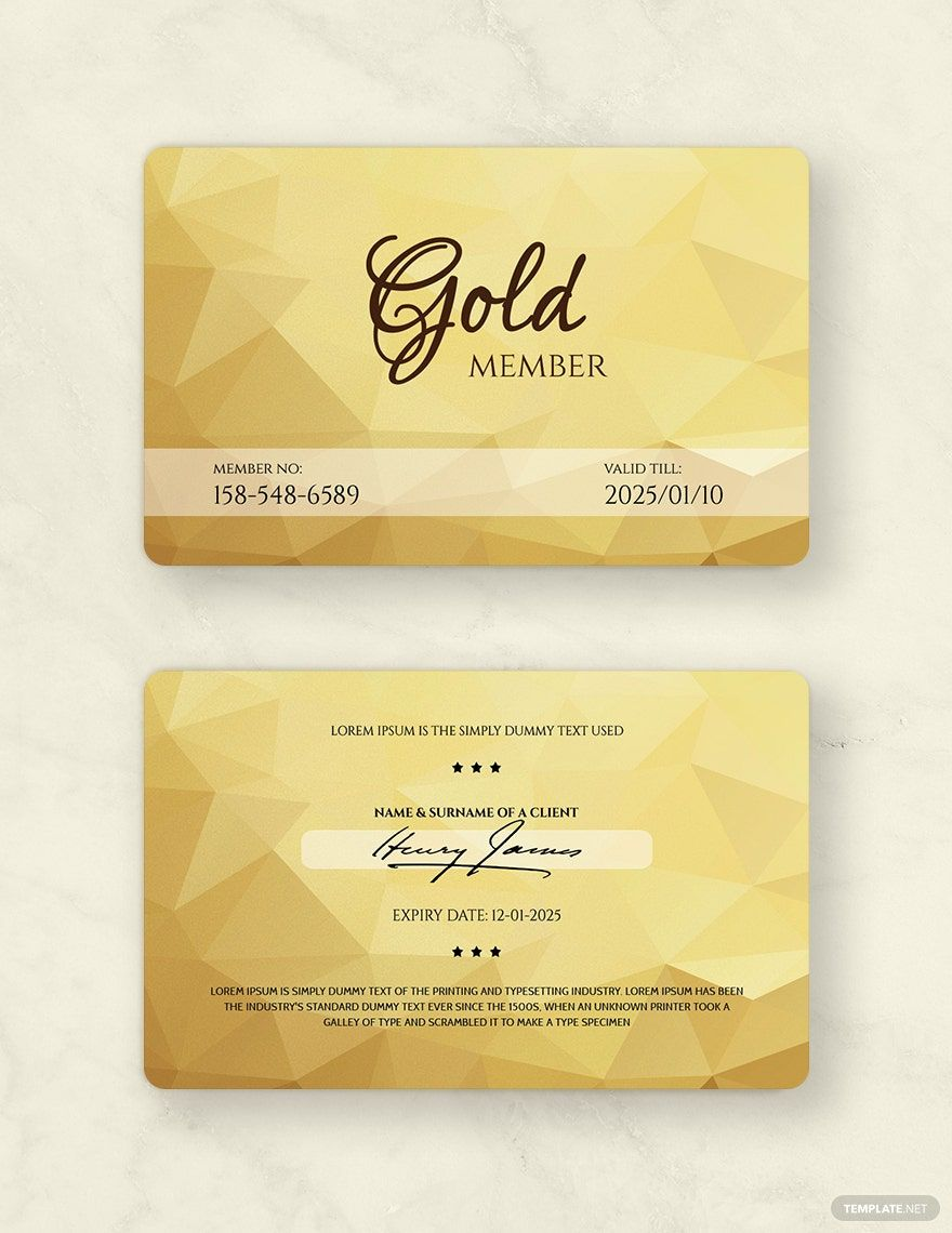 Free Gold Membership Card Template Word Doc Psd Apple Mac Pages Illustrator Publisher Membership Card Member Card Gym Membership Card