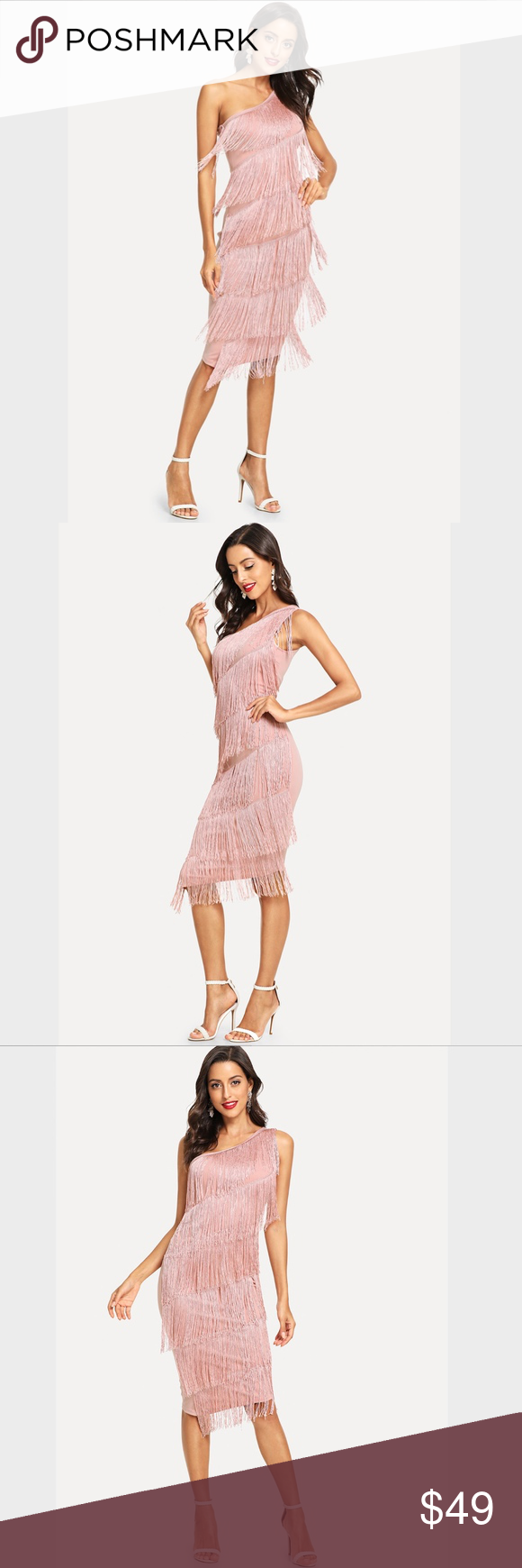 Photo of One Shoulder Tiered Fringe Bodycon Dress Pink Perfect party dress