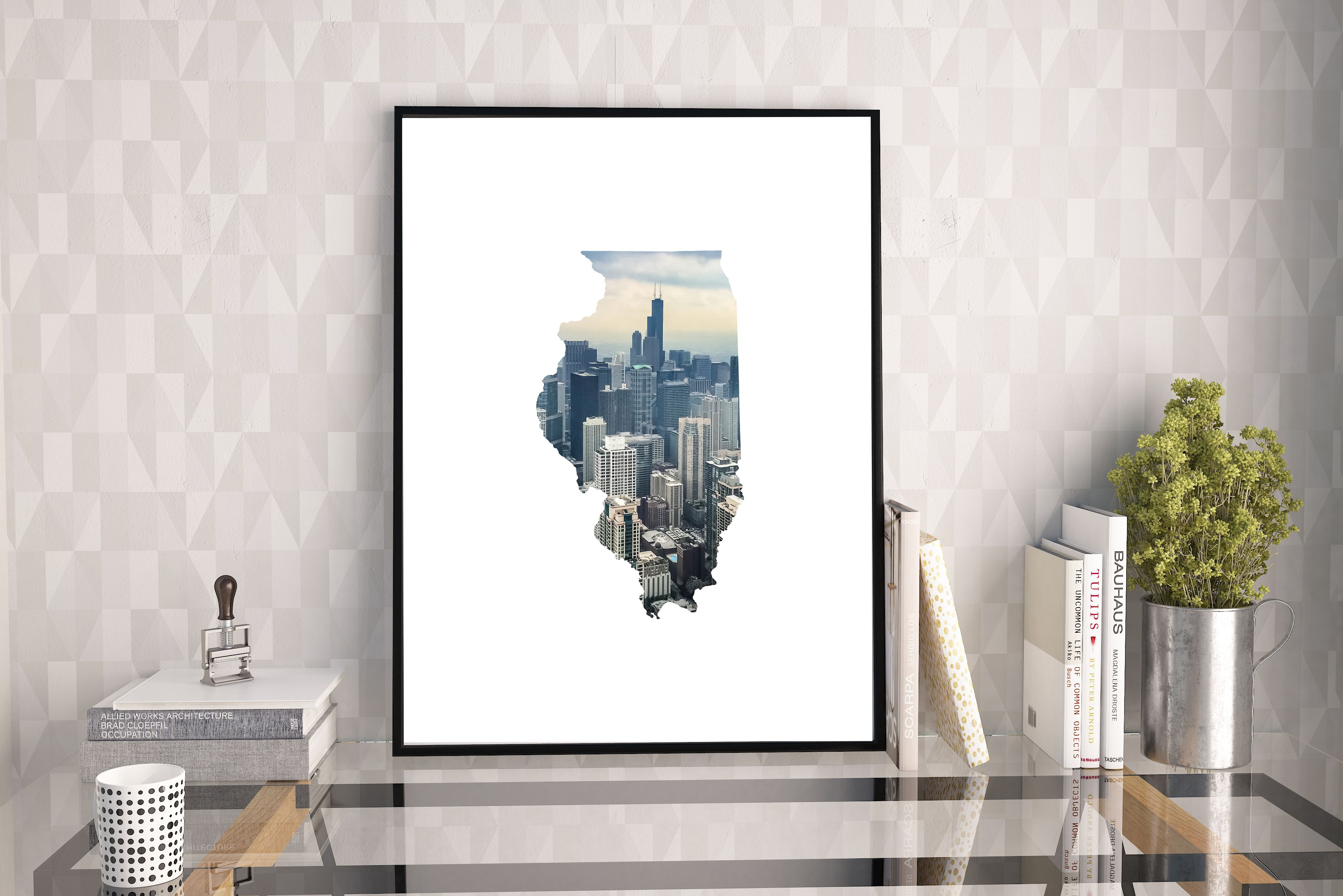 Illinois State Map Art - Chicago Skyline - Cityscape - Modern Large Print - Unique Map Gift - Cool Map - Large Landscape Photos - Travel Map