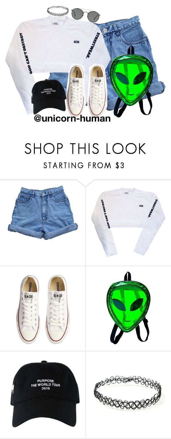 """Untitled #2896"" by unicorn-human ❤ liked on Polyvore featuring Bill Blass, Converse, Forever 21 and Ray-Ban"