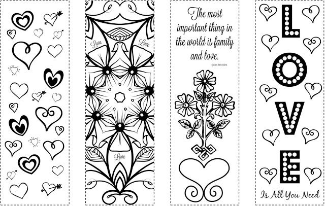 Free Printable Valentine\'s Day Coloring Bookmarks (Available from ...