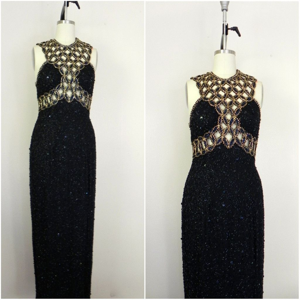 Vintage 1980s Gold Beaded Cutout Dress