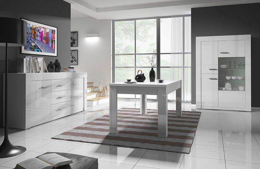 Salle à manger complète design blanc laqué PURGIA 3 | Salle ...