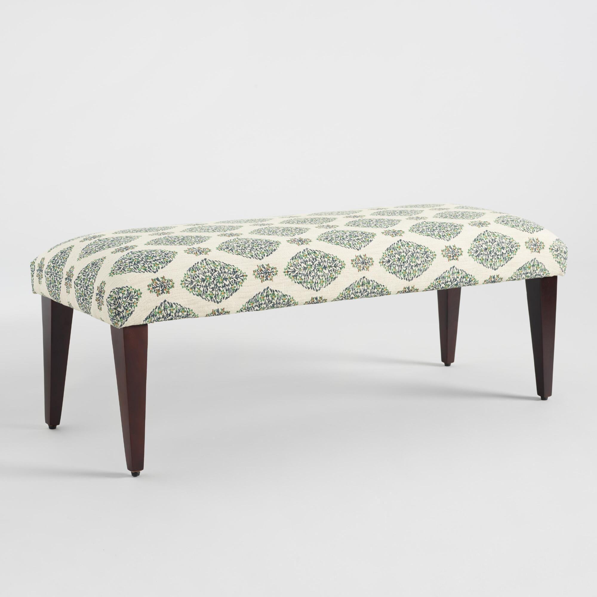 Superb Teal Green Printed Celia Bench Green Natural Fabric By Ibusinesslaw Wood Chair Design Ideas Ibusinesslaworg