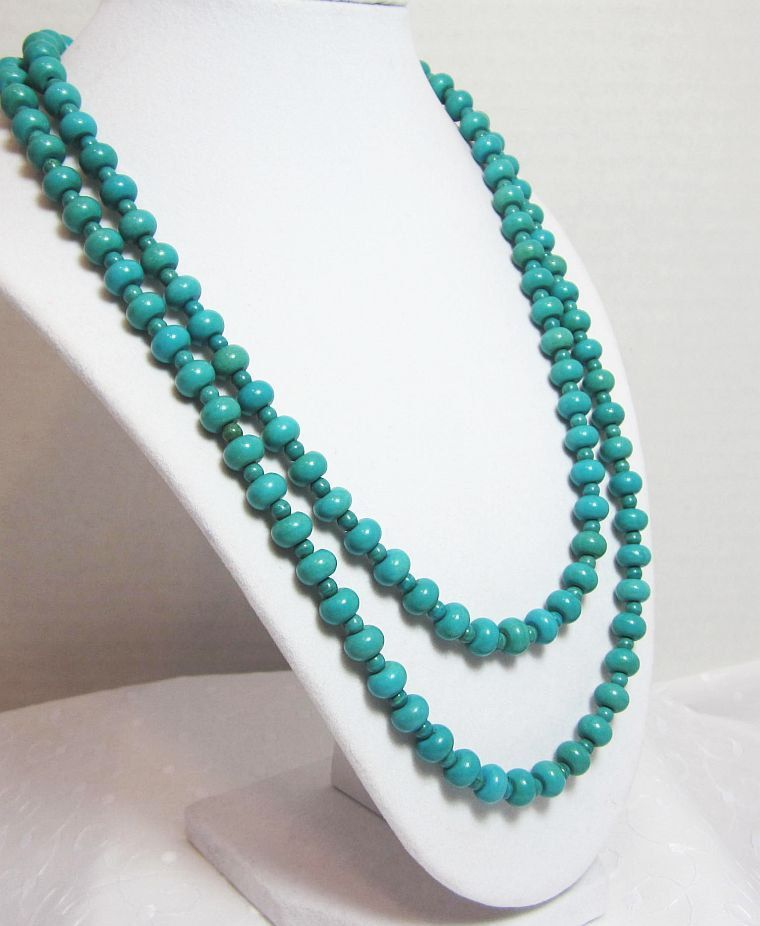 Turquoise Dbl Strand Necklace Gorgeous Blue Green Rondelles with Silver Hook & Eye Clasp http://etsy.me/Ulsgbv  via @Etsy #jewelry #turquoise #necklace #gifts