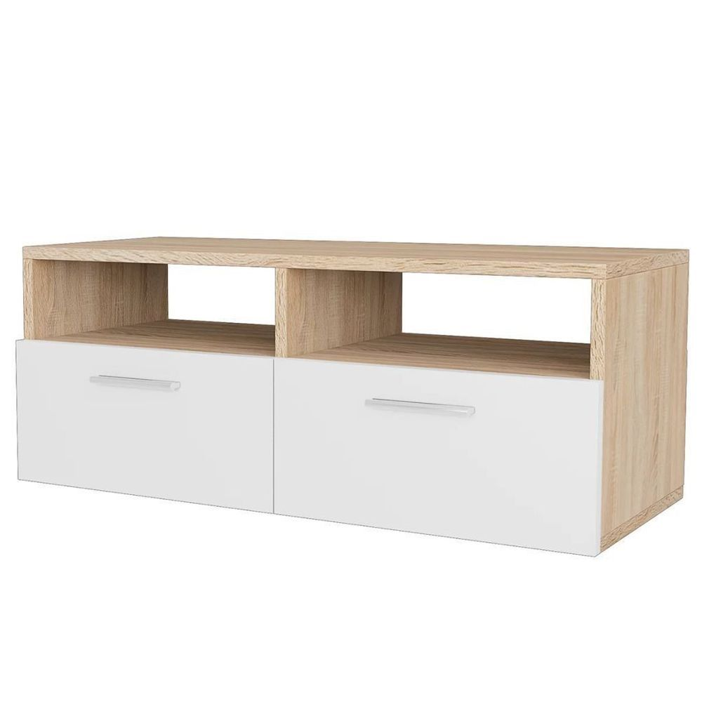 . White Small TV Stand Cabinet Chipboard Oak Furniture Home Storage