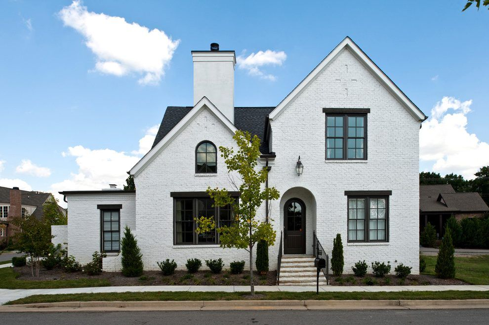 Black Window Trim Exterior Exterior Traditional With Painted Brick White House Painted Brick