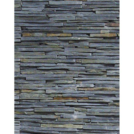 Plaquette de parement stonepanel fine lame en pierre naturelle noir salle - Leroy merlin planche ...