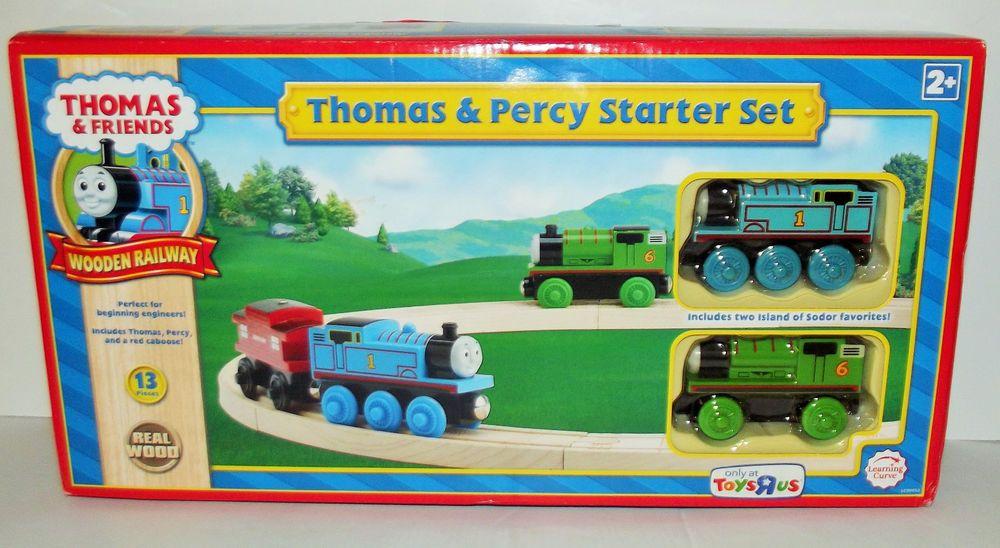 Thomas & Friends Wooden Railway Thomas & Percy Starter Set 13 Pieces Real Wood #FisherPrice