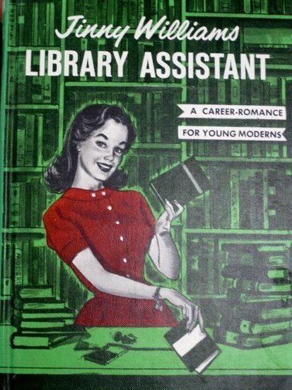 Published in 1967, Jinny Williams: Library Assistant was written as an introduction for teen girls to the librarian career field. In the cheesy romance book, Jinny must choose between two love interests and balance work at the library. She even has a fairly modern discussion on not marrying right away, unlike her friends.