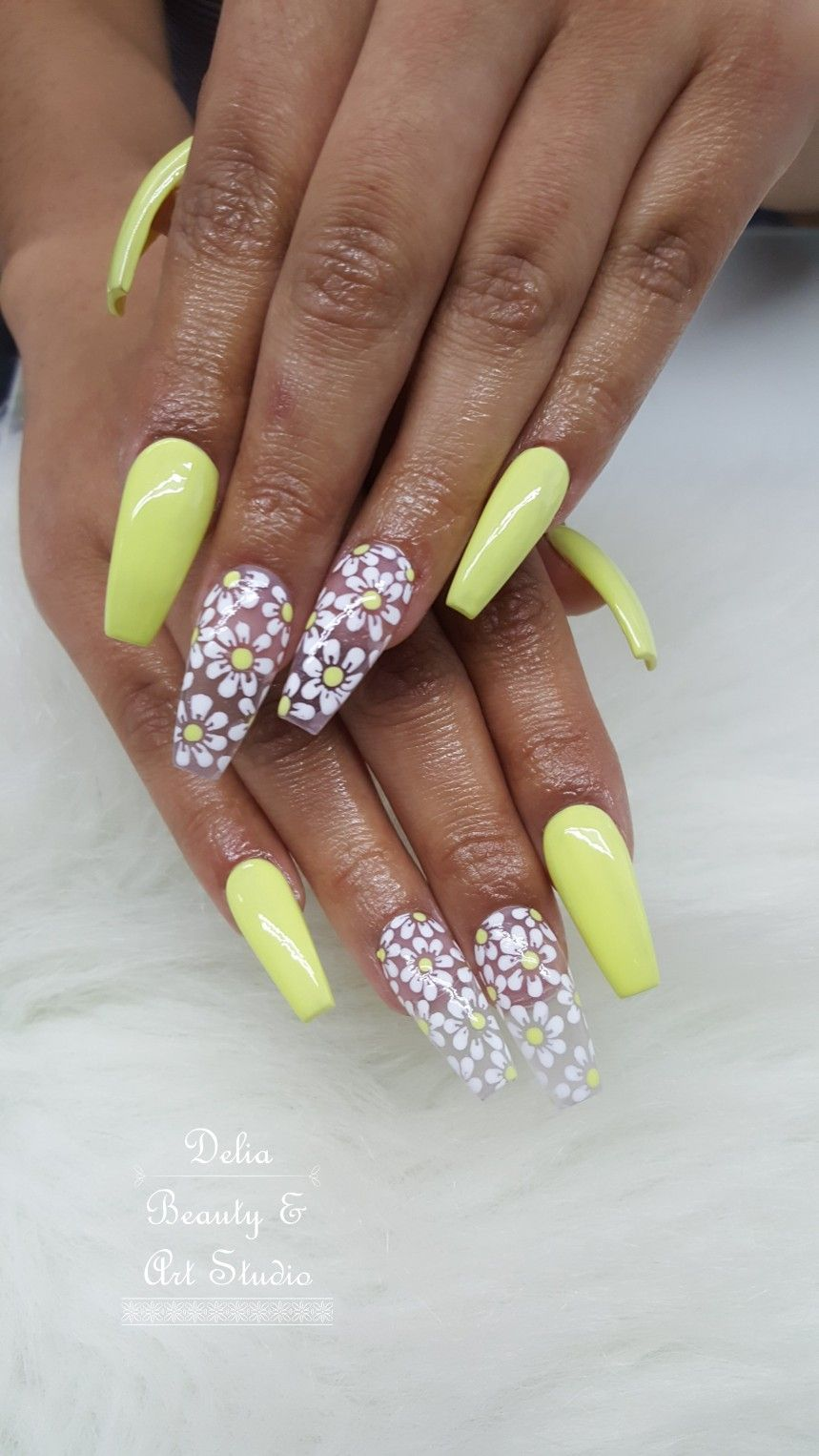 Acrylic Nails Coffin Shape Long Nails Yellow Nails Flower Design