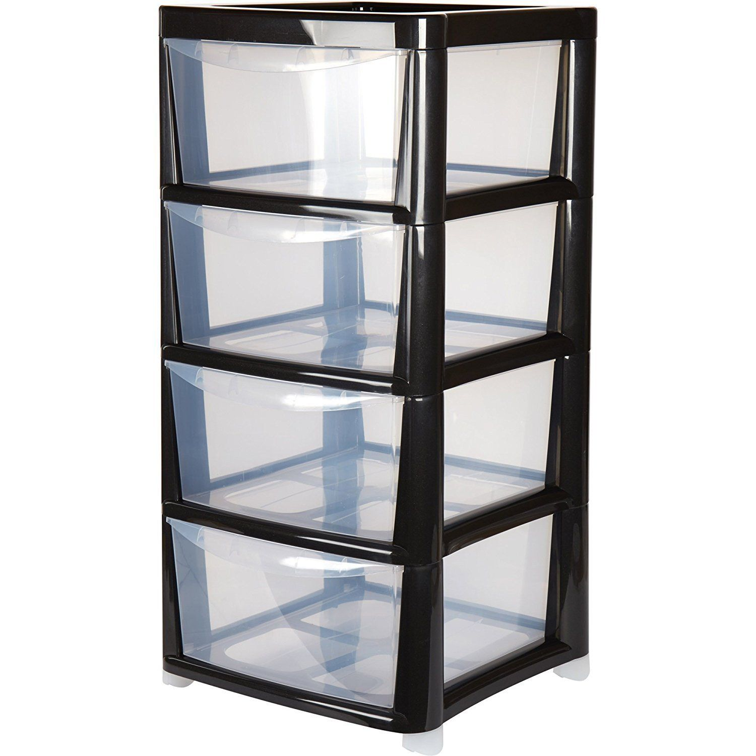 4 Drawer Large Plastic Storage Drawer Tower Black