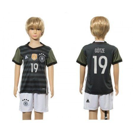 Tyskland Trøje Børn 2016 Mario #Gotze 19 Udebanetrøje Kort ærmer,199,62KR,shirtshopservice@gmail.com