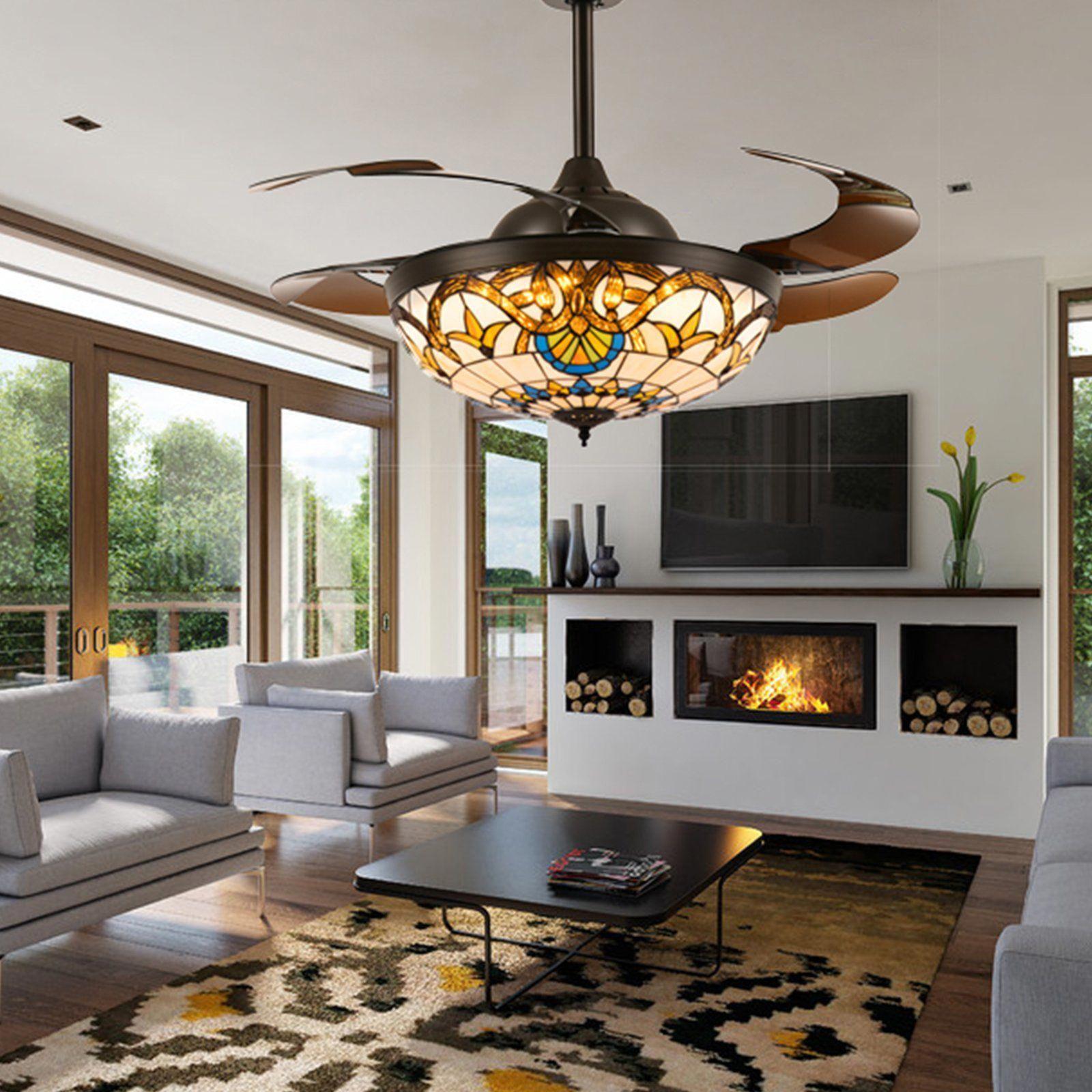 Brown Crystal Ceiling Fan Chandelier Light Living Room