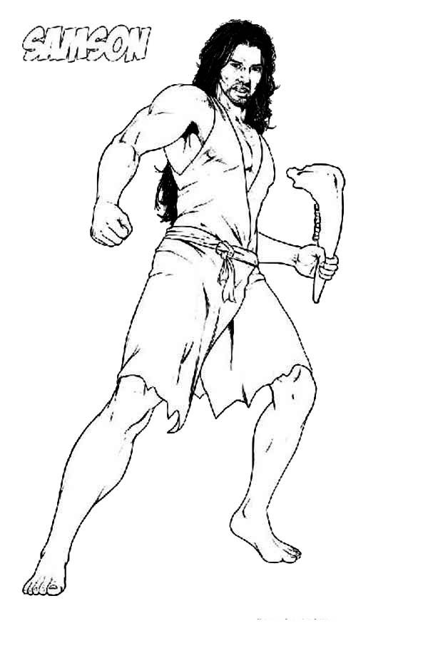 Picture of Samson with Jawbone of an Ass Coloring Page | Kid\'s Bible ...