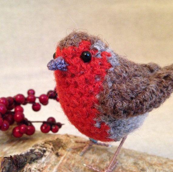 Christmas robin crochet bird sculpture by FreshlyKnittedThings