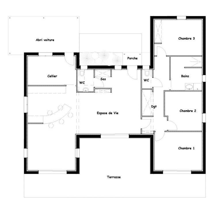 Plan Maison Plain Pied 120m2 En 2020 Plan Maison Plain Pied Maison Plain Pied Plan Maison