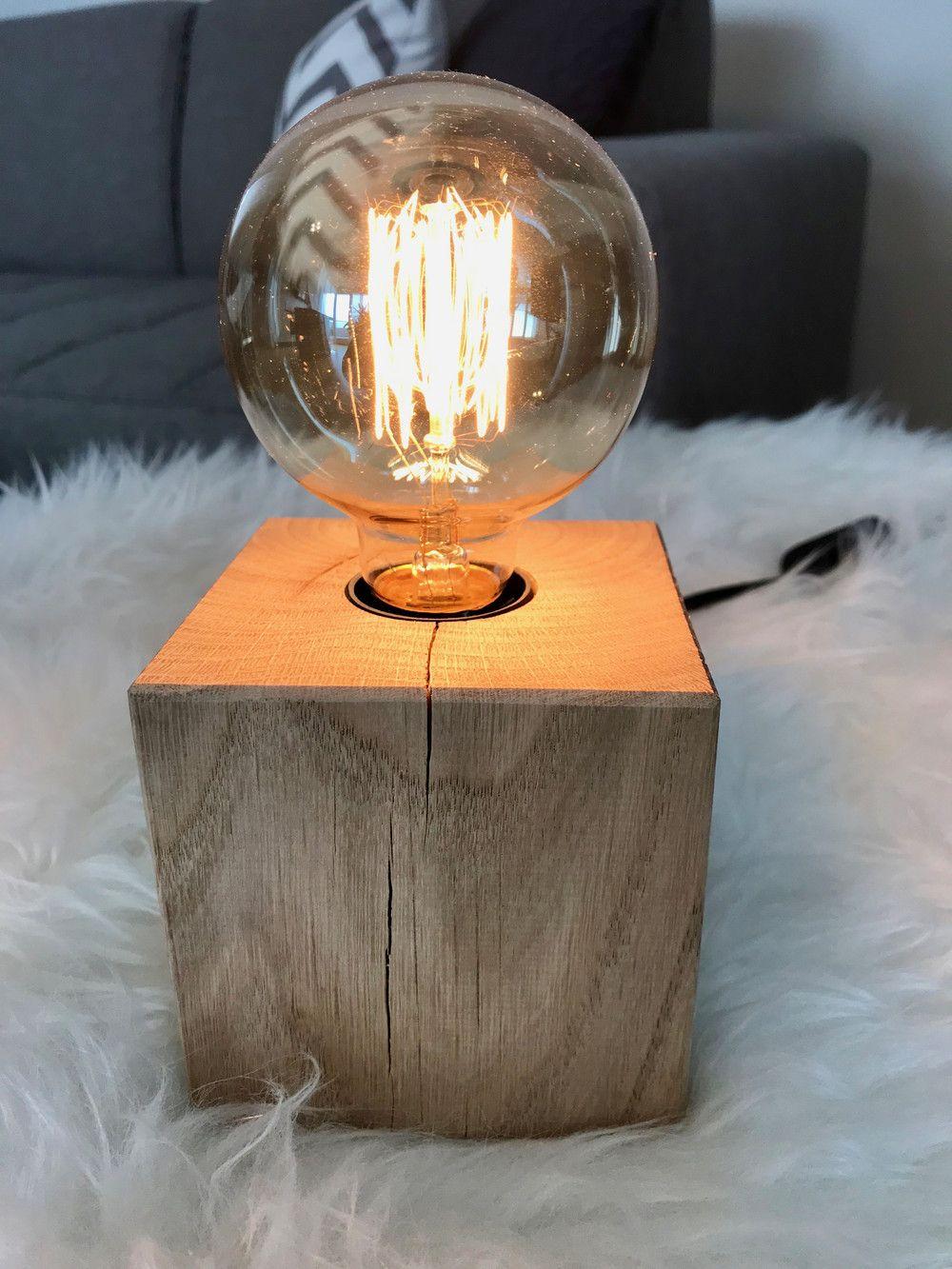 nachttischlampen  edison holz lampe massive eiche retro