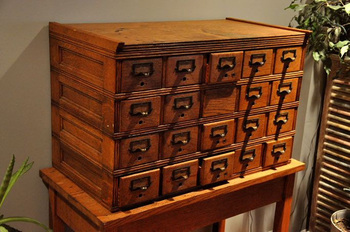 vintage library card catalog Google Search