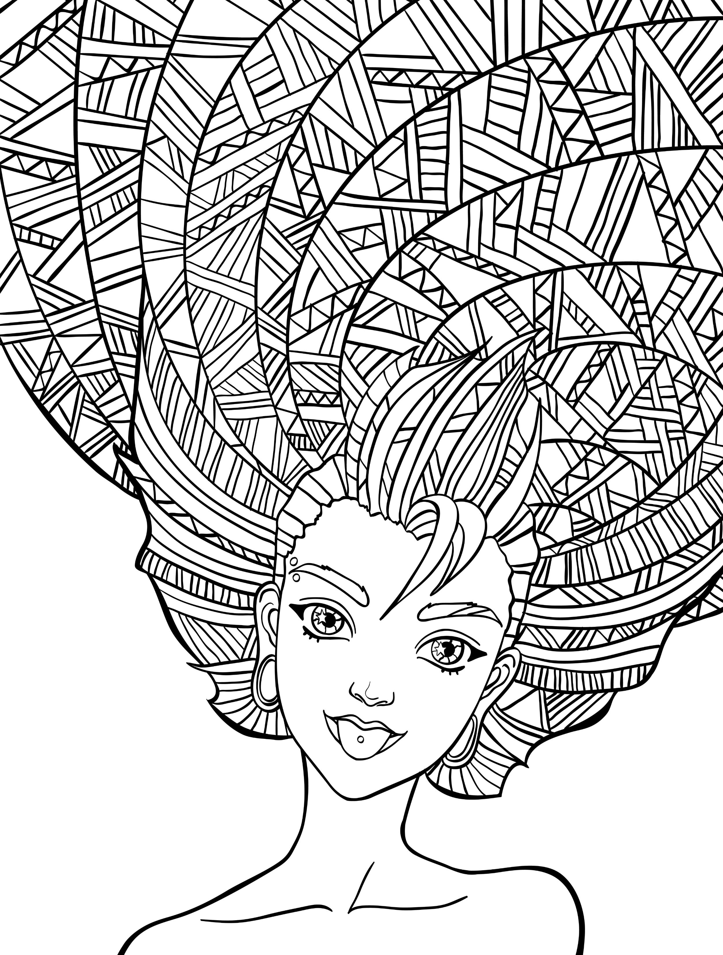 10 Crazy Hair Adult Coloring Pages Free Adult Coloring