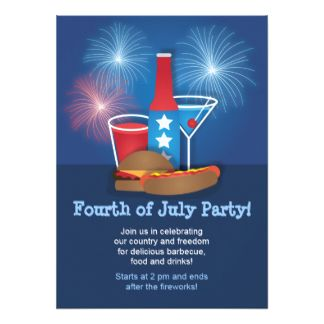 "Fireworks and Food #4thofJuly #PartyInvitation 4.5"" X 6.25"" Invitation Card"