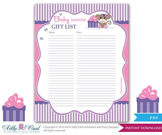 Girl Monkey Guest Gift List , Guest Sign In Sheet Card For Baby Shower,  Birthday Monkey DIY Purple Pink Sock  Oz17bs53