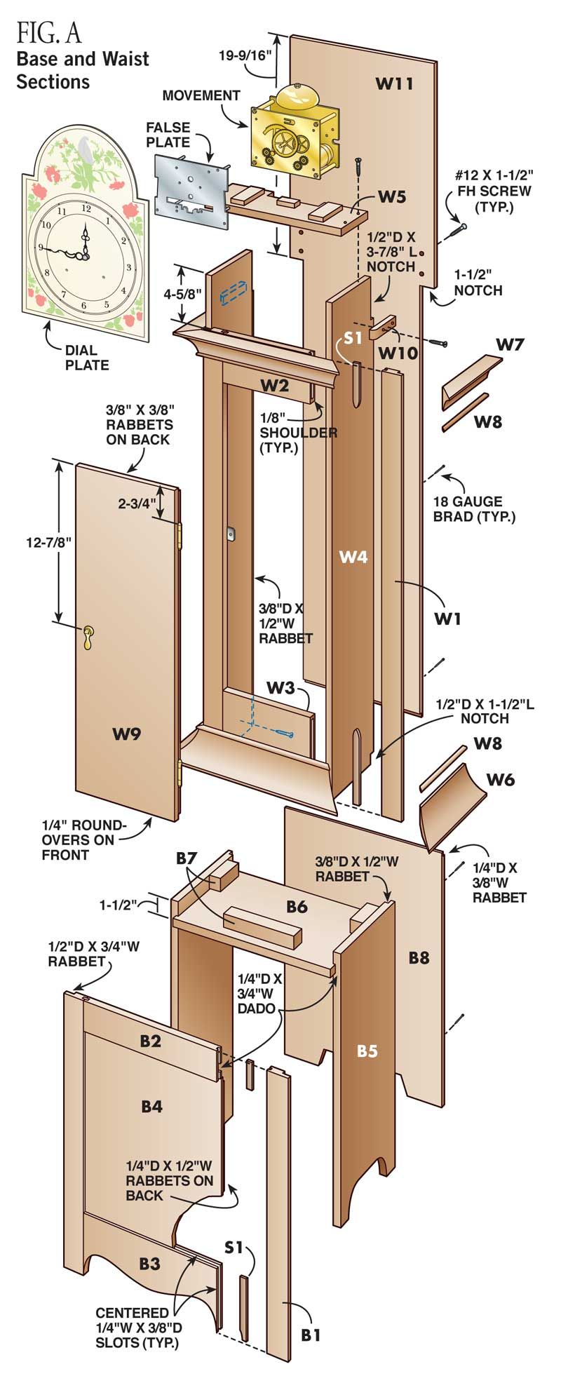 Country-Style Grandfather Clock By Tim Johnson For many of us, a grandfather  clock is the ultimate project. Traditional high-style clocks often involve  such ...